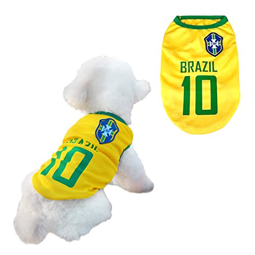 Hunde Trikot Fußball Jersey T-Shirt für Hunde Katzen Kostüme Haustier Weltmeisterschaft Weihnachtsmannkostüm Kleidung Haustierhundekleidung Brasilien (S, Gelb)