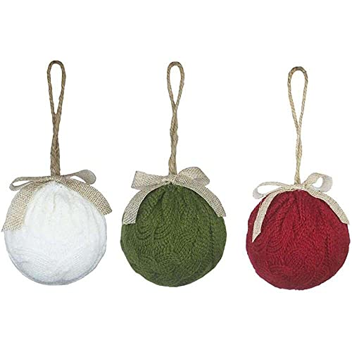 YuKeShop Adornos de bola de punto de Navidad Accesorios de regalo Adornos de árbol de Navidad para decoración de Navidad 3pcs