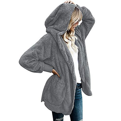 Ulanda Women's Long Sleeve Thick Hooded Open Front Cardigan Autumn Winter Warm Fuzzy Fleece Jacket Coat (XL, Gray-02)