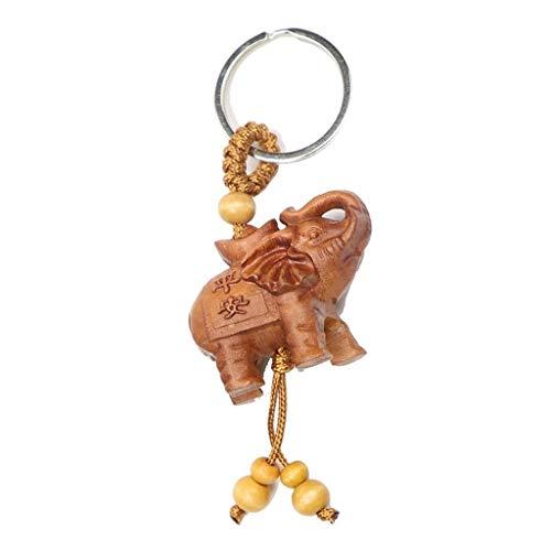ZHANGAIGUO Buddha Elefant Keychain, Pfirsichholz Glück Elefant Geschenk Anhänger, Um Böse Geister Abzuwehren, Hölzerne Günstige Elefant Schlüsselring 4.5cm