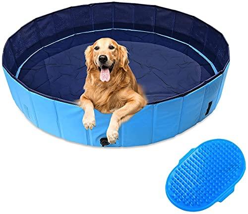 DBREAKS Piscina para Perro Grandes 160CM, Piscina Plegable para Mascotas, Bañera para Gatos Azul, Bañera Perros y Gatos, Adecuado para Interior Exterior