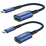 NIMASO Adaptador USB Tipo C a USB 3.0[OTG-2 Unidades],Adaptador USB C Compatible con MacBook Pro 2017/2016 (Azul)