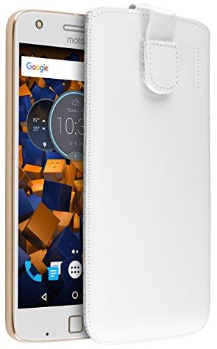 mumbi Echt Ledertasche kompatibel mit Lenovo Moto Z Play Hülle Leder Tasche Hülle Wallet, Weiss