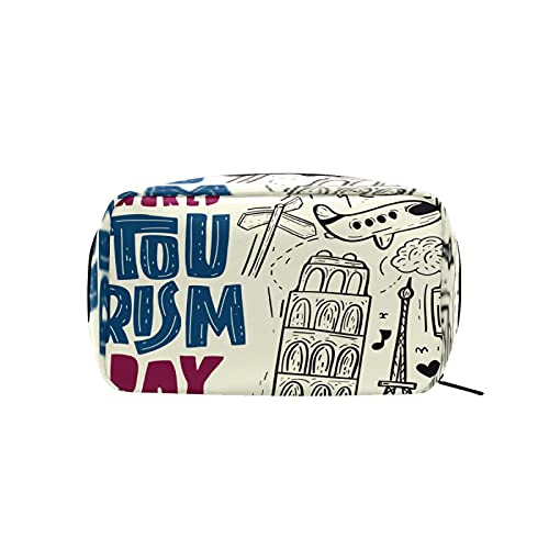 Bolsa de cosméticos para mujeres y niñas Trave bolsa de maquillaje neceser bolsa de accesorios organizador retro dibujado a mano viaje Paris Eiffer Tower