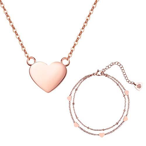 URBANHELDEN - Süßes Schmuck-Set aus Herzkette u. Herzarmband - Damen Kette u. Armband mit Herzchen - Schmuckset Halskette u. Armkette - Herz Geschenkset - Rosegold