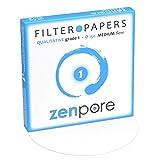 15 cm Lab Filter Paper, Standard Qualitative Grade 1 - ZENPORE Medium Flow 150 mm (100 Discs)
