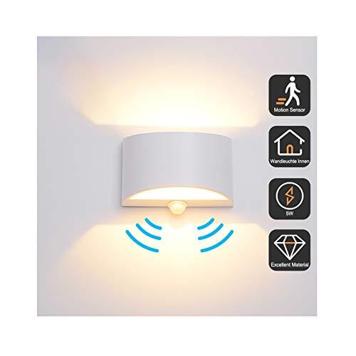 Wandleuchte Bewegungsmelder Innen 7W Warmweiß, Yacolife LED Wandlampe Innen Up and Down Aluminium Innenleuchte, Nachtlicht Sensor für/Flur/Treppenhaus/Garage/Wohnzimmer