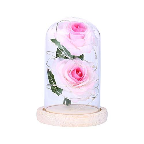 Homeofying batteriebetriebene künstliche Rose LED Glasflasche Lampe Nachtlicht Home Decor Valentinstag Geschenk Deko Lichter für Kinderzimmer Schlafzimmer Arbeitszimmer Wohnzimmer Büro Rosa/Weiß