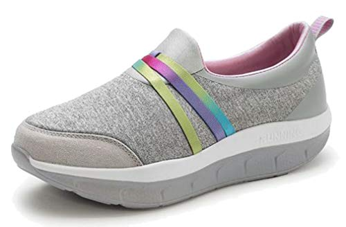 Seaoeey Female Casual Rocking Shoes Elderly Women Large Size Middle-Aged Walking Non-Slip Soft Sport Shoe Gray 9M