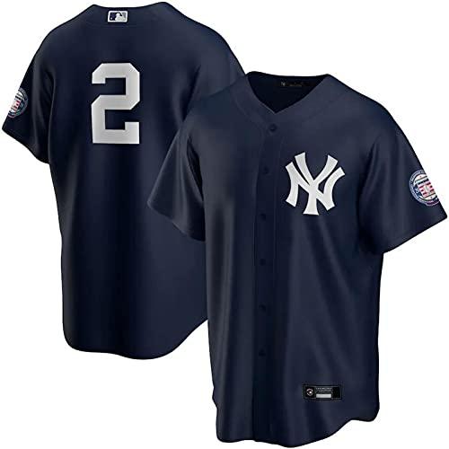 GYN MLB Yankees Jersey #2 Jeter Baseball Fan Jersey Ropa Deportiva, Camisa Transpirable de Verano para Hombres y Mujeres Camiseta de Manga Corta,Blue Fans,B