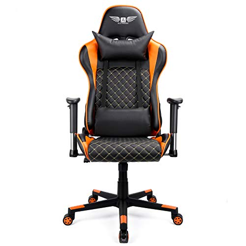 Acethrone Gaming Chair, Racing Style High Back PU Leather Computer Desk Chair with Headrest and Lumbar Support, Adjustable Armrest 360° Swivel Executive Ergonomic Office Chair (Orange)