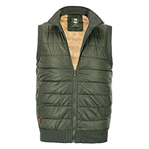 Men's Casual Vest Padded Puffer Jacket Vests Stand Collar Plus Size Warm Sleeveless Coat