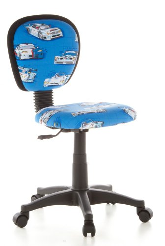 HJH Office, Kiddy, bureaustoel voor kinderen, draaistoel 90 x 40 x 37 cm auto's, blauw.