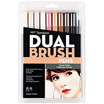 Tombow 56170 Dual Brush Pen Art Markers Portrait 10-Pack Blendable Brush and Fine Tip Markers