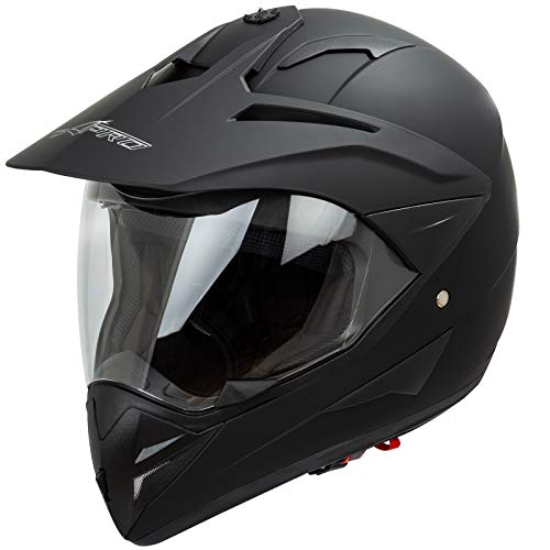 Casco Moto Cross Enduro Trial Quad Off Road Visiera Anti Nebbia Nero Opaco M