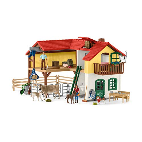 Schleich Farm World Large Toy Barn and Farm Animals 52-piece Playset for Toddlers and Kids Ages 3-8