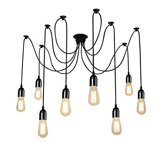 UFLIZOGH Lámpara de Araña Colgante Vintage Industrial Lámpara de Techo 8 Luces E27 Iluminación Retro Ajustable para Sala de Estar Comedor Hotel DIY (No Bombilla)