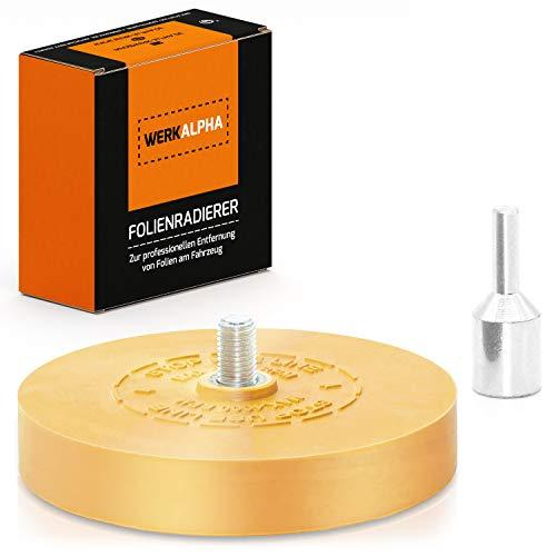 Werk Alpha Folienradierer mit Adapter zum Professionellen Entfernen von Folien und Kleberesten am Fahrzeug, Auto oder Motorrad