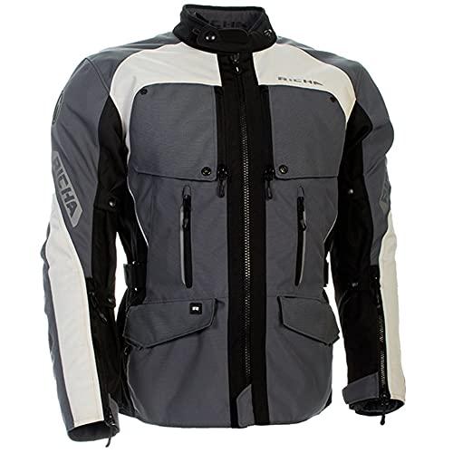Richa Utah Impermeabile Traspirante Moto in Tessuto Giacca Moto - Grigio - Grigio, L