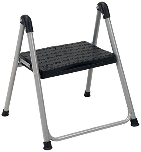 COSCO One Step Steel, Resin Steps, Step Stool without Handle, Platinum/Black