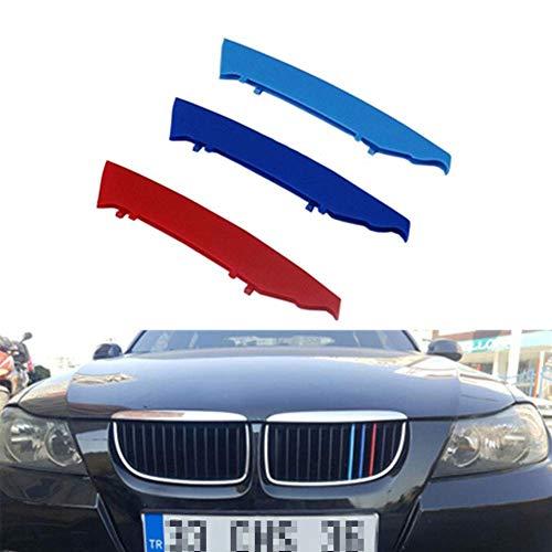 Tiras de moldura de rejilla delantera Decoración de cubierta de parrilla para BMW Serie 3 2005 a 2008 E90 E91 320325330335 12 rejillas, inserciones Rejillas de riñón Campana Radiador Parrilla Rayas