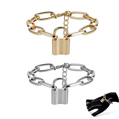 Daimay 2PCS Legierung Armband Lock Pendant Armreif für Frauen Männer Chunky Spange Punk Gothic Fußreif- Gold und Silber