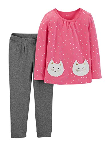Carter's Infant Girls 2pc Pink Dot Shirt with Kitty Cat Pockets & Gray Pants NB
