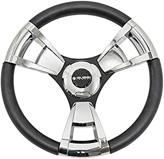 Gussi Italia Model 13 Chrome/Black Premium Italian-Made Steering Wheel for Golf Carts - Club Car, EZGO, Yamaha, Tomberlin - No Hub Adapter Needed