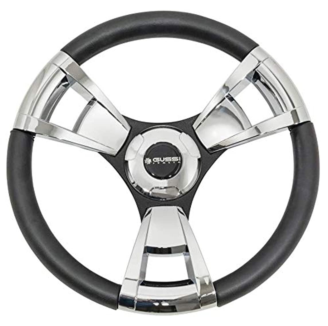 Gussi Italia Model 13 Chrome/Black Premium Italian-Made Steering Wheel for Golf Carts - Club Car, EZGO, Yamaha, Tomberlin - No Hub Adapter Needed