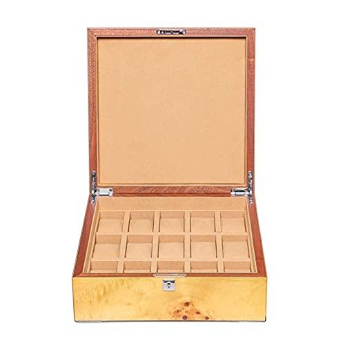 GPWDSN Caja de presentación de Relojes Proceso de Pintura de Piano, Caja de Almacenamiento de Relojes con Cerradura de Metal, Soporte de Reloj de Gran Espacio para 15 Relojes