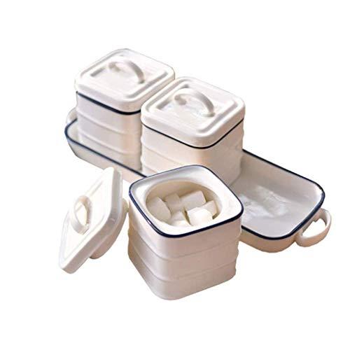 JJDSN Botella de condimento de cerámica, Tanque de condimento doméstico Caja de condimento de condimento Botella de condimento Salero Suministros de Cocina