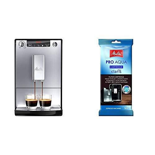 Melitta Caffeo Solo E950-103 Schlanker Kaffeevollautomat mit Vorbrühfunktion / 15 Bar / LED-Display / höhenverstellbarer + 192830 Filterpatrone für Kaffeevollautomaten, 1 Patrone