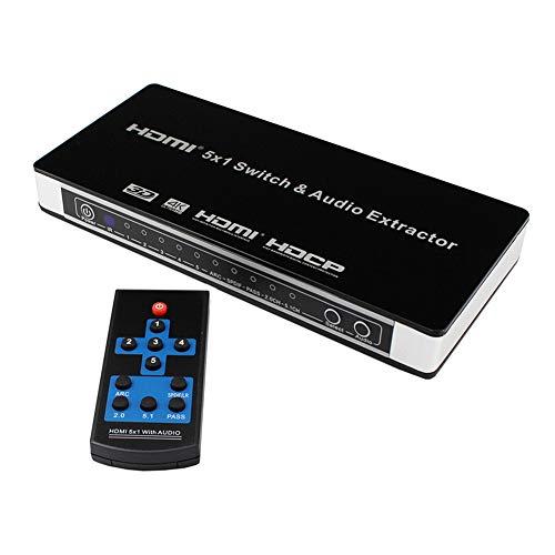 5X1 1.4 HDMI-switch, met een audioscheidingsfunctieschakelaar 5 Input 1 Output TV-schakelaar Digitaal naar analoog Converters 4K HD Video-schakelmatrix Audioconversie extractor Splitter