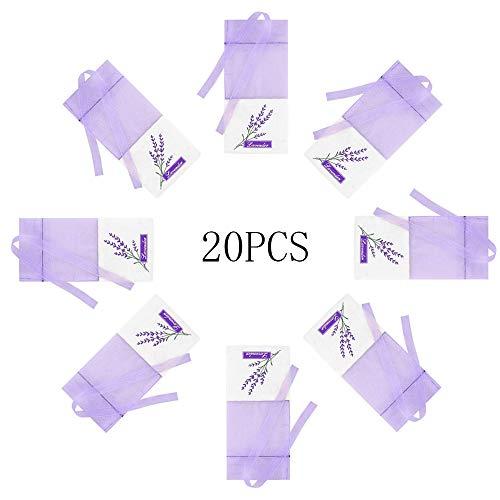 Bolsa de Lavanda Vacía, 20 Piezas Bolsita de Lavanda con Cordón Bolsa de Perfume púrpura vacía Bolsa de Lavanda Bolsas de Algodón Lavanda para Lavanda Especias y Hierbas (Violeta Claro)