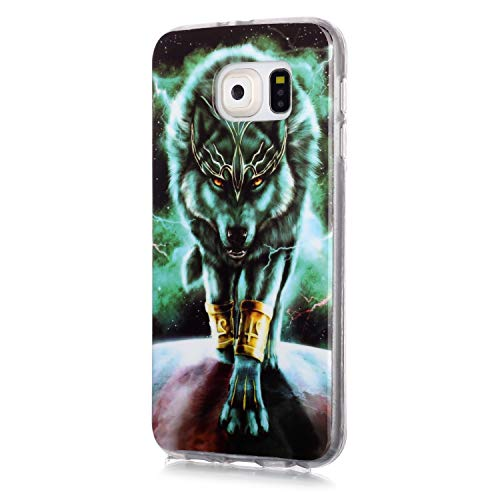 Fatcatparadise Funda para Galaxy S6 [con Protector Pantalla], Carcasa Silicona Claro de Luna Protector TPU Suave Anti-Choque Ultra-Delgado Funda para Apple Samsung Galaxy S6(Lobo Salvaje)