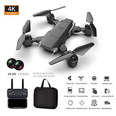 Foldable Camera Drone with HD 4K Dual Camera, Wide-Angle Live Video RC Quadcopter with Altitude Hold Remote Control Aircraft, Follow Me Mode for Beginners