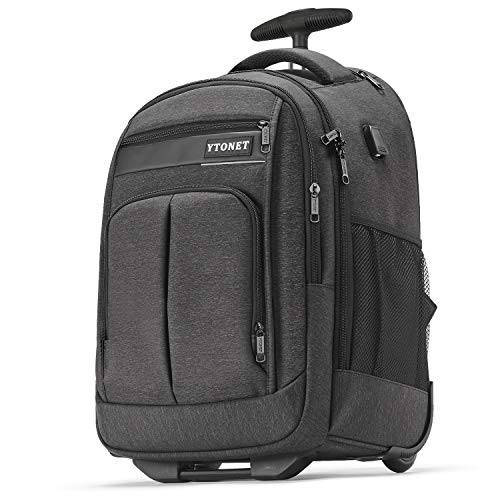 Rolling Backpack, Large Laptop Backpack with Wheels for Men, Waterproof Wheeled Backpack for Business Travel Carryon Backpacks for School Student Women fit 15.6 15 14 Inch Laptops, Black