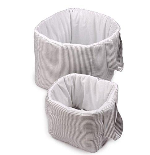 Vizaro - Utensilo/Großes gepolstertes und Kleines Körbchen für das Babyzimmer/Kinder- 2 Pack Einheiten - 100% REINE BAUMWOLE - Made in EU - ÖkoTex - K. Graue Linien