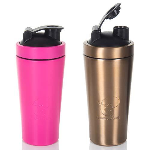 Mantrafant Guru Blender PRO | roestvrij stalen shaker | eiwitshaker met geïntegreerde blender | BPA-vrij | duurzaam geproduceerd | eiwitshaker van metaal voor fitness | Gym | Sport | Proteïneshake Mat-roze