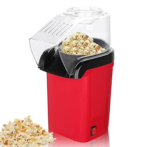 FOUVIN Machine à pop-corn à air chaud pour la maison, 1200 W, machine à pop-corn automatique sans graisse ni huile, sans BPA avec couvercle amovible