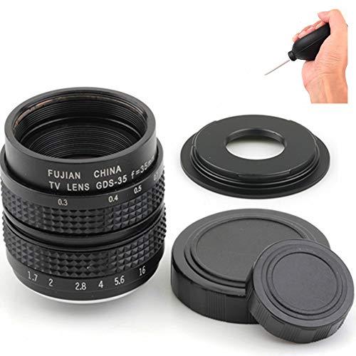 Pixco 35 mm f/1.7 per Nikon 1 per Pentax Q FUJI FX CCTV Lens + C Mount to camera adattatore con soffiatore di polvere (per Fuji FX)