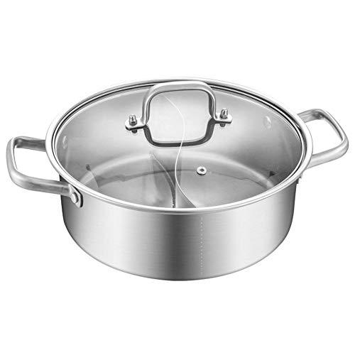Nrkin Feuertopf Zwilling Geteilt Edelstahl, Dual Sided Edelstahl Hot Pot,Yin Yang Chafing Dish Kochgeschirr,2-Kammer-Prinzip, Induktionskochtopf