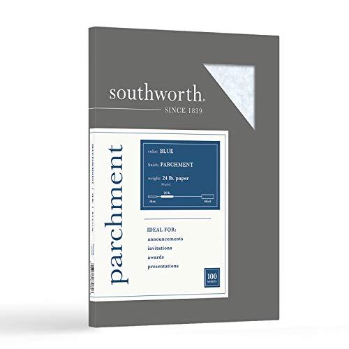 Southworth Farben + Texturen feines Pergamentpapier, Nr. 24, 21,6 x 27,9 cm, Blau, 100 Stück pro Packung (P964CK), (Modell: P964CK/3/36)