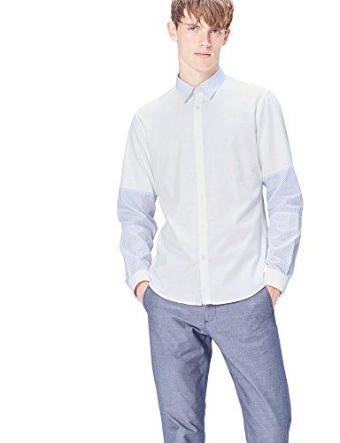 Marca Amazon - find. Camisa de Manga Larga Slim Fit con Paneles para Hombre, Azul (Navy), 41 cm, Label: XL