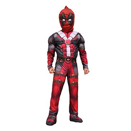 FINDPITAYA Disfraz Deadpool Halloween Navidad Músculo Niño Cosplay Costume con Máscara (M 110-120)