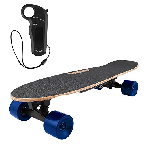 OppsDecor Electric Skateboard Youth Electric Longboard with Remote Control for Adults, 7 Layers Maple Longboard, 12 MPH Top Speed, 10 Miles Range (Blue)