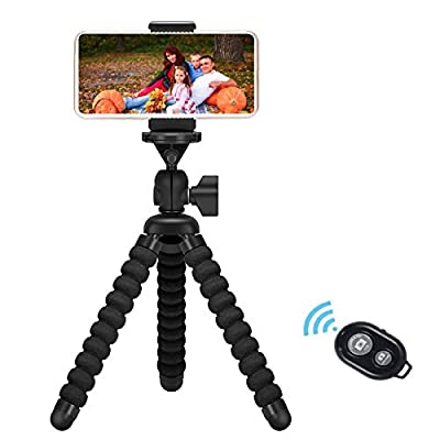 Phone Tripod, Flexible Tripod with Bluetooth Remote and Universal Clip,Compatible with iPhone/Android/Camera GoPro,iPhone Tripod for Selfie Live Streaming Tiktok YouTube Video Recording by Kimfoxes