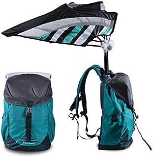 Mochila de viaje portátil al aire libre Ventilador incorporado, parasol sin manos Senderismo Protector solar Mochila de enfriamiento Paraguas Mochila de senderismo para acampar a prueba de agua,Black