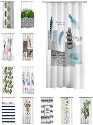one-home Duschvorhang 180x200 cm wasserabweisend Badewannen Vorhang inklusive 12 Ringe, Farbe:Steine grau blau
