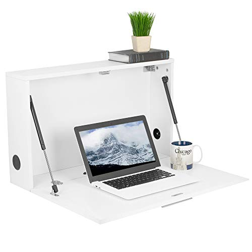 VIVO White Wall Mounted 28 inch Drop Down Laptop Desk Workstation and Storage Cabinet, Pneumatic Spring Wall Organizer, Pull Down Desk Drawer, DESK-SF02W